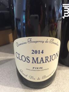 Fixin Clos Marion - Domaine Fougeray de Beauclair - 2015 - Rouge