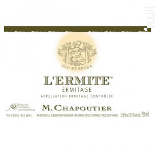 L'ermite - Maison M. Chapoutier - 2011 - Rouge