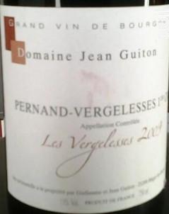 PERNAND VERGELESSES 1er cru Les Vergelesses - Domaine Jean Guiton - 2016 - Rouge