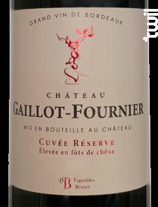 Château Gaillot-Fournier Cuvée Réserve fûts de chêne - Château Gaillot-Fournier - 2018 - Rouge