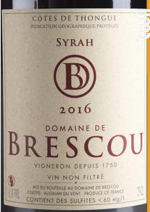 Syrah - Domaine de Brescou - 2016 - Rouge