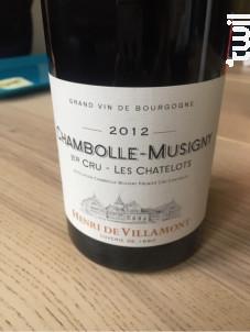 Chambolle-Musigny 1er Cru Les Chatelots - Henri de Villamont - 2016 - Rouge