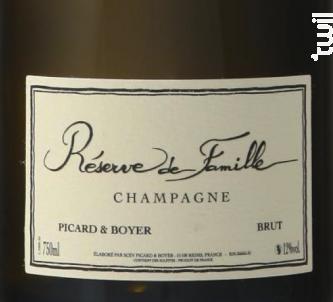 Réserve de Famille Brut - Champagne Picard et Boyer - Non millésimé - Effervescent