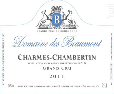 Charmes-chambertin - Domaine Des Beaumont - 2007 - Rouge