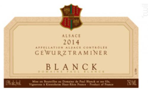 Gewurztraminer - Paul Blanck & Fils - 2018 - Blanc