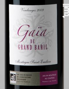 Gaïa de Grand Baril - Château Grand Baril et Réal Caillou - 2011 - Rouge
