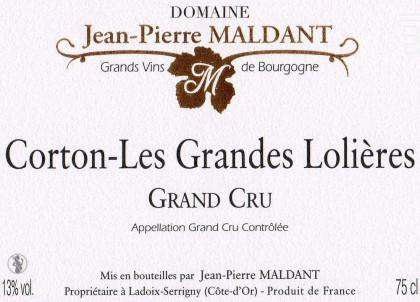Corton-Les Grandes Lolières Grand-Cru - Domaine Maldant Jean-Pierre - 2017 - Rouge