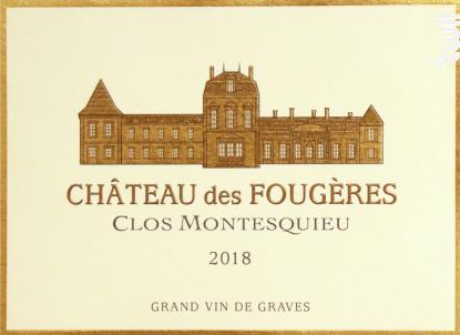Château des Fougères Clos Montesquieu - Château des Fougères Clos Montesquieu - 2018 - Rouge