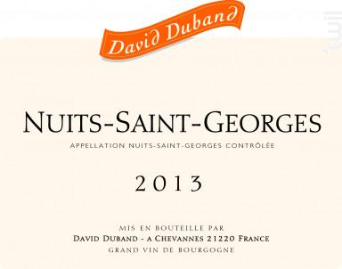 Nuits-Saint-Georges - Domaine David Duband - 2016 - Rouge