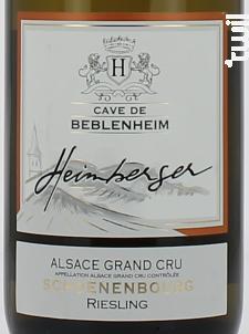 Riesling Grand Cru Schoenenbourg - Cave de Beblenheim - 2017 - Blanc