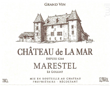 Marestrel Le Golliat - Chateau de la Mar - 2016 - Blanc