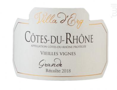 Cotes-du-rhone Vieilles Vignes - Villa d'Erg - 2017 - Rouge