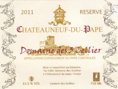 Réserve - Domaine des 3 Cellier - 2015 - Blanc
