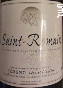 Saint-Romain - Gerard Léon et Claudine - 2016 - Rouge