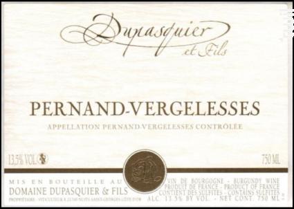 Pernand-Vergelesses Rouge - Domaine Dupasquier et Fils - 2018 - Rouge