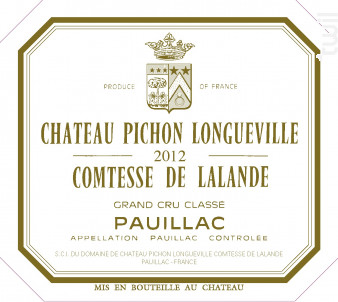 Château Pichon Longueville Comtesse de Lalande - Château Pichon Longueville Comtesse de Lalande - 2012 - Rouge