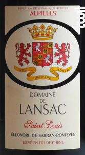 Saint Louis - Domaine de Lansac - 2015 - Rouge