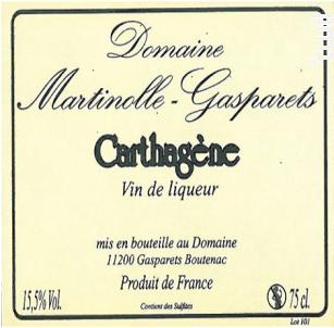 Carthagène Rouge Artisanal - Domaine Martinolle-Gasparets - 2016 - Rouge