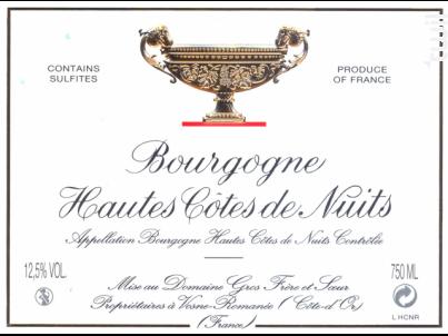 Bourgogne Hautes Côtes de Nuits - Domaine Gros Frère et Sœur - 1991 - Rouge