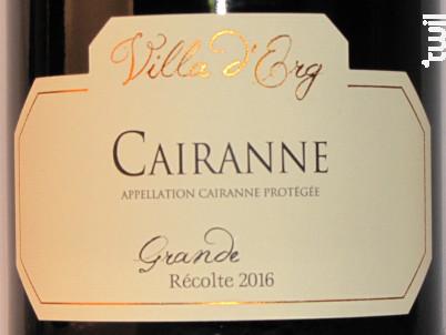 Cairanne - Grande Récolte - Villa d'Erg - 2018 - Rouge