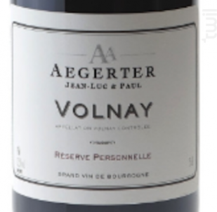 Volnay - Jean Luc et Paul Aegerter - 2015 - Rouge
