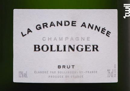La Grande Année Brut Millésimé - Champagne Bollinger - 2004 - Effervescent