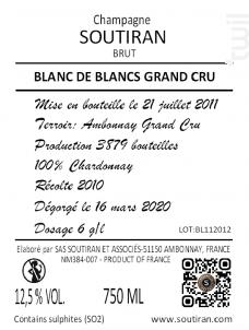 Cuvée Blanc De Blancs Grand Cru - Champagne A. Soutiran - Non millésimé - Effervescent