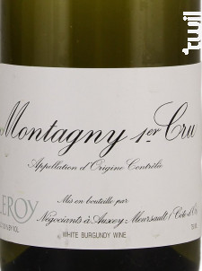 Montagny 1er Cru - Domaine Leroy - 2014 - Blanc