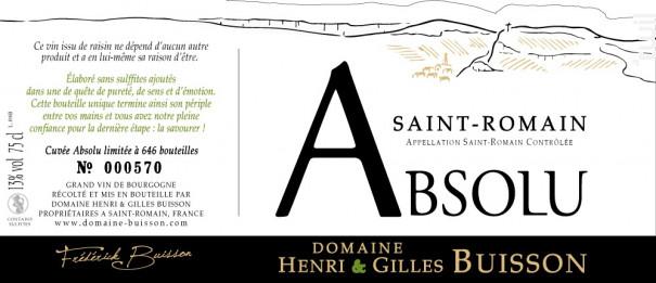 Absolu - Domaine Henri & Gilles Buisson - 2017 - Blanc