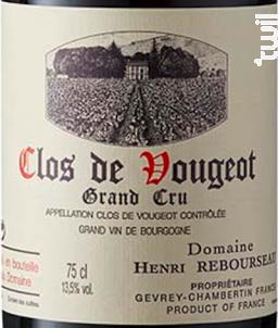 CLOS DE VOUGEOT - Domaine Henri Rebourseau - 2016 - Rouge