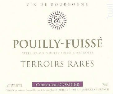 Terroirs rares - Domaine Christophe Cordier - 2016 - Blanc