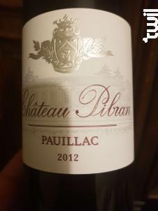 Château Pibran - Chateau Pibran - 2012 - Rouge
