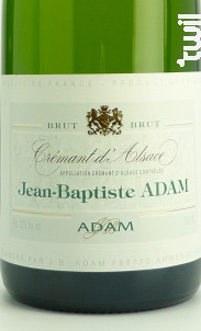 Crémant Brut - JEAN BAPTISTE ADAM - Non millésimé - Effervescent