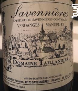 Savennières Vendanges manuelles - Domaine Taillandier - 2005 - Blanc