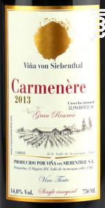 Gran reserva - carmenere - VINA VON SIEBENTHAL - 2016 - Rouge