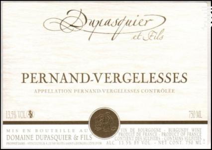 Pernand-Vergelesses - Domaine Dupasquier et Fils - 2018 - Blanc