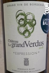 Expression - Château le Grand Verdus - 2018 - Blanc