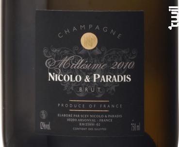 Champagne Millésimé - Champagne Nicolo et Paradis - 2014 - Effervescent