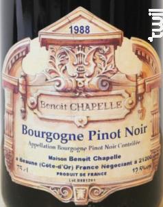 Bourgogne Pinot Noir - Domaine Chapelle - 2015 - Rouge