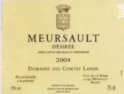 MEURSAULT DESIREE - Domaine des Comtes Lafon - 2015 - Blanc