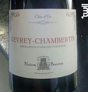 Gevrey Chambertin - Vignerons Associés - Nuiton-Beaunoy - 2016 - Rouge