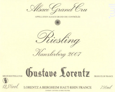RIESLING GRAND CRU KANZLERBERG