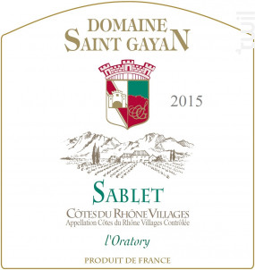Sablet - Domaine Saint Gayan - 2016 - Blanc