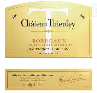 Château THIEULEY - Château Thieuley - Vignobles Francis Courselle - 2015 - Blanc