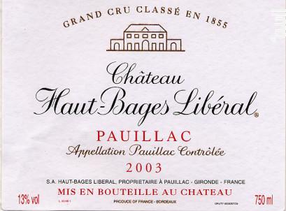 Château Haut-Bages Libéral - Château Haut-Bages Libéral - 2003 - Rouge