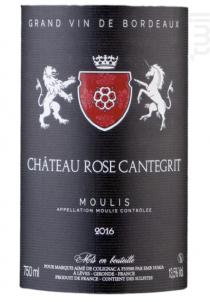 Chateau Rose Cantegrit - Moulis en médoc - Château Rose Cantegrit - 2016 - Rouge