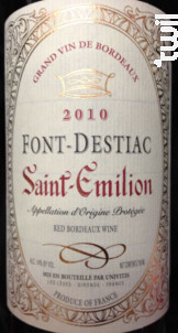 Font Destiac - Saint Emilion - Font-Destiac - 2012 - Rouge